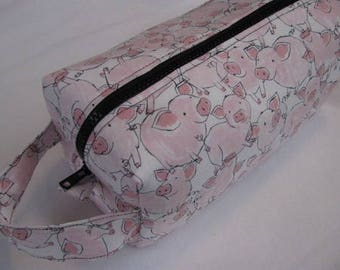 Cute Pig cosmetic makeup bag with surprise embroidery inside - Cosmetic Bag Makeup Bag LARGE