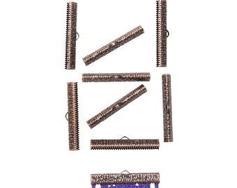 50pcs.  40mm  ( 1  9/16 inch ) Antique Copper Ribbon Clamp End Crimps - Artisan Series