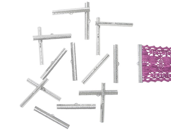 150 pieces  50mm  (2 inch)  Platinum Silver Ribbon Clamp End Crimps - Artisan Series