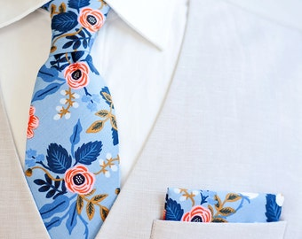 Necktie, Neckties, Mens Necktie, Neck Tie, Floral Neckties, Groomsmen Necktie, Ties, Wedding, Rifle Paper Co - Birch Floral In Periwinkle