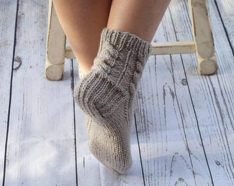 Hand knit socks cable knit socks bed socks dream beige neutral color cottage chic womens socks gift for her handmade Mothers Day warm socks