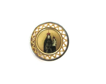 Enamel Brooch Foil Art Madonna Immaculate Mother and Child Gilt Lady Of Perpetual Help Religious Pin