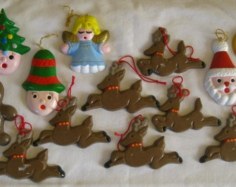 Vintage Hand Painted Ceramic Mold Christmas Tree Hanging Ornaments, Assorted Collection Reindeer, Santa Claus, Angel Gingerbread Man, Pixie