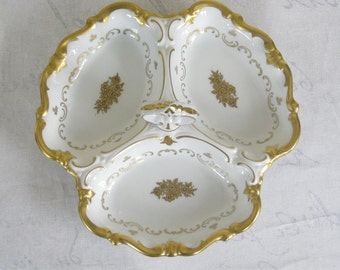 Reichenbach divided Dish with Handle, Elegant gold and White Vintage German Porcelain Three Section Relish Serving Plate,