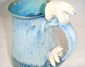 Custom Order Polar Bear Baby Cub Mug Ocean Blue Artic ClayDogStudio