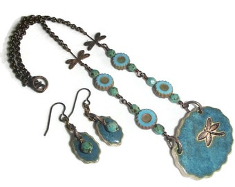Ceramic Dragonfly Pendant Necklace and Earring Set  Dragonfly Jewelry Set