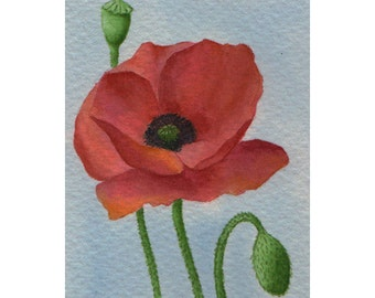ACEO Original Watercolor Painting, Red Poppy Flower, Miniature Painting, Small Flower Painting, Red Flower, Art and Collectables, Floral Art