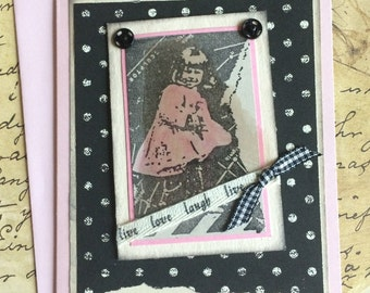 Handmade Black Polka Dot Greeting Card Featuring Young Girl in Pink