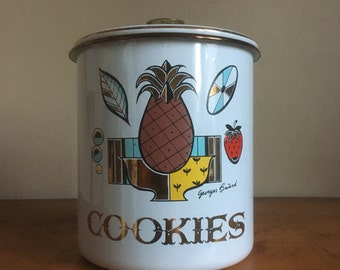 Vintage Georges Briard Enamel Cookie Tin