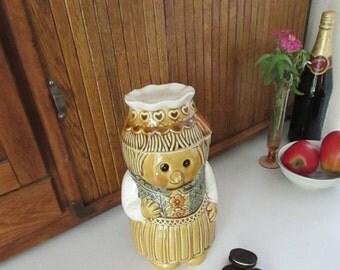 Gingerbread Woman Cookie Jar – Ceramic Chef Lady Cookie Storage – Vintage Kitchenalia
