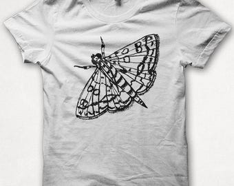 Womens Graphic Tee Shirt, Moth, Butterfly, Insect, Screenprint Tshirt, Graphic Tee For Women, Fitted Shirt - White