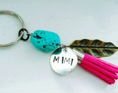 Tassel keychain. Mimi. Pink. Turquoise. Hand stamped. Personalized. Feather. Mimi keychain. Zipper pull.