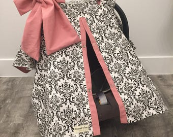 CAR SEAT COVER / carseat canopy / nursing cover / girl / carseat cover / car seat canopy / infant car seat cover / damask / girl