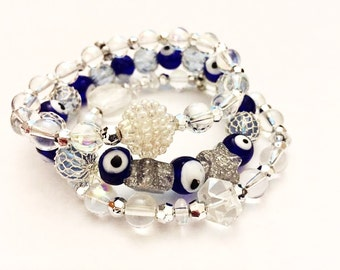 Bracelets - Set of 3 Stretchy Bracelets - Clear Glass, Cobalt Blue Evil Eyes, Silver and Pale Blue Fishnet Style Beads