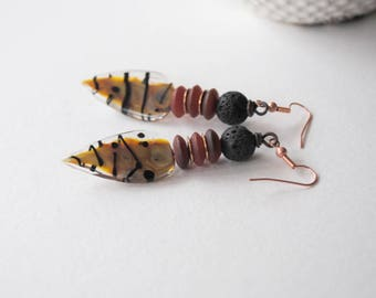 Tiger Stripe Earrings, Lampwork Glass Earrings, Brown Black Earrings, Elongated Teardrop Earrings, Boho Chic Earrings, Animal Print Jewelry