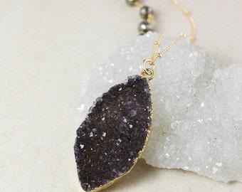 50 OFF SALE Gold Dark Agate Druzy Necklace – Grey or Black Druzy – Black Pyrite Chain