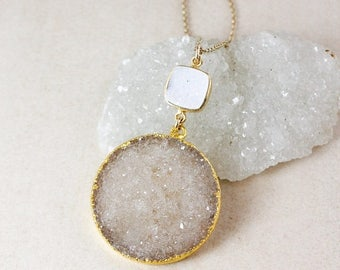 50% OFF Brown and White Druzy Pendant Necklace – Choose Your Druzy – 14K Gold Filled Chain