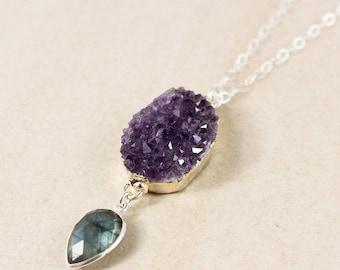50% OFF Silver Purple Amethyst Druzy Crystal & Blue Labradorite Necklace - Boho Jewelry