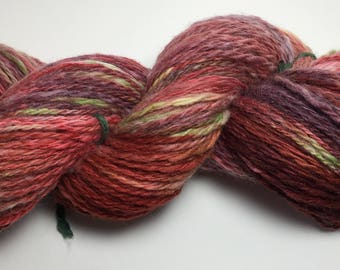 """Hand-Spun 100% Wool and Merino Yarn """"Psychadelic"""" Hand-Washed, Carded, Spun and Painted, 2 ply, Knit, Crochet, Weave, Aran & Worsted 260 yds"""