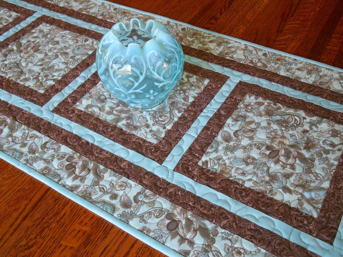 Blue And Brown Quilted Table Runner Floral Table Runner