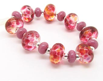 Pink Lampwork Beads, Frit Lampwork Beads, Lampwork Bead Set, UK, SRA