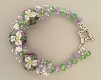Lampwork Flower Bracelet Easter Lily