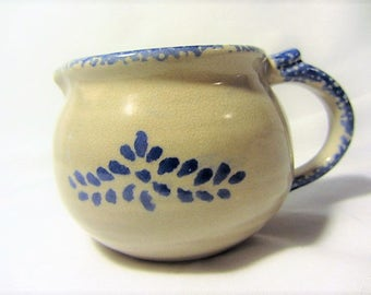 Loomco China Spongeware Stoneware Creamer, 80's Spongeware Creamer, Spongeware Pottery by Loomco, Tan and Blue Pottery, Small Pitcher
