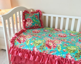 Coral Floral Toddler Bedding, Gold Dot Toddler Bedding Sets, Leopard Toddler Bedding, Crib Bedding Set for Toddlers, Girl Toddler Bedding