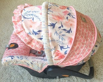 Replacement Car Seat Cover, Blush Car Seat Cover, Floral Car Seat Cover, Infant Car Seat Cover, Custom Baby Car Seat Cover