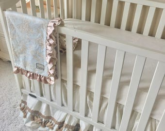 ivory and toile bedding sets for baby girl or boy gender neutral crib set
