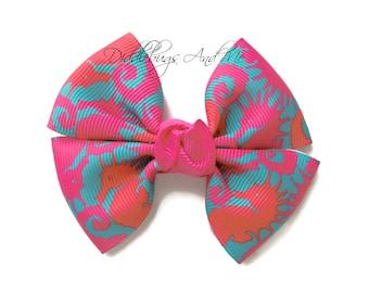 Seahorse Pinwheel Bow, Tropical Hair Bow, Hair Bows For Girls, Pink And Orange Seahorse Bow, Bows For Toddlers, Beach Bows, Pinwheel Bows