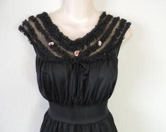 50s black nightgown 1950's nylon gown ruffled boudoir slip dress large