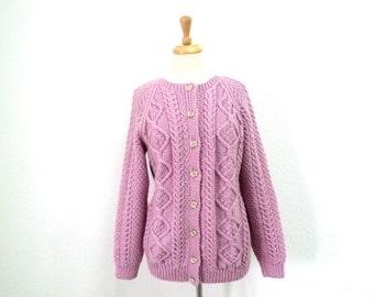 Vintage Wool Cardigan Fisherman Handknit Sweater Pink Button front Large