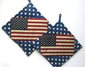 American Flag Patriotic Pot Holders Set of Two Quiltsy Handmade