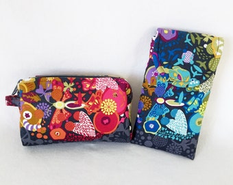 Cosmetic Glasses Case Combo Floral Butterflies Multi Color Gift Set
