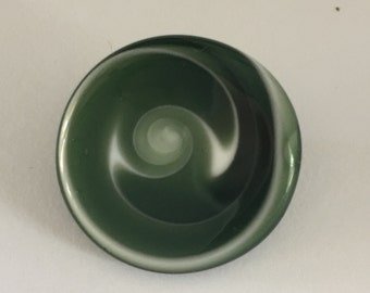 Lampwork Glass Button with Self Shank - Green/White Swirls