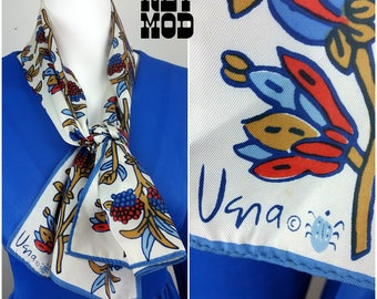 Pretty Vintage 70s Blue, Red, Beige and White Botanical Floral Long VERA Scarf