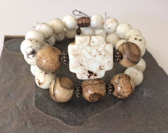 Double Stack Stretch Bracelet, Picasso Jasper and White Turquoise