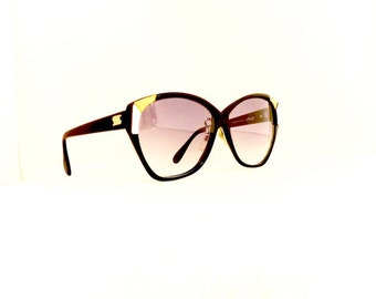 80s Silhouette Sunglasses Cat Eye Women's Vintage 1980's Black with Gold & White Detail Frames Made in Austria #550 DIVINE (EB)