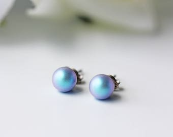 Swarovski Iridescent Light Blue Pearl Titanium Stud Earrings Simple Everyday Dainty