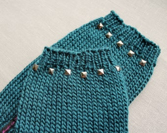 Knitted Teal Legwarmers with Studs