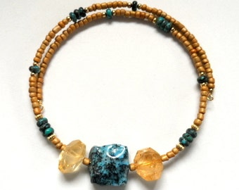 New! - choker, beaded, modern, wrap style citrine and turquoise choker necklace