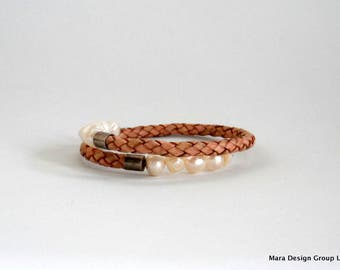 leather and freshwater pearl wrap bracelet - adjustable