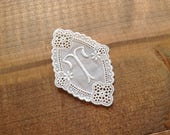 Authentic swiss vintage embroidery Initial T cotton lace embroidered monogram 2.7 inch - rare vintage item
