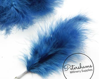 6 Stems of Wired Fluffy Marabou Feathers for Fascinators & Wedding Bouquets (18 feathers) - Blue