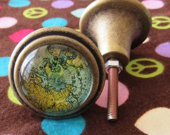 Set of Six Antiqued Brass Knobs with A Map