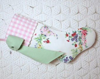 """Delicate """"Rock Garden"""" Wilendur Vintage Tablecloth Stocking with Gingham Vintage Chenille Cuff and Big Bow"""