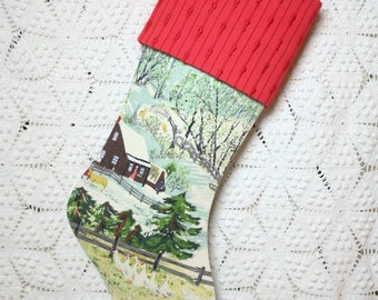 "Grandma Moses ""Early Springtime in the Snow"" Vintage Barkcloth Christmas Stocking with Red Vintage Chenille Cuff"