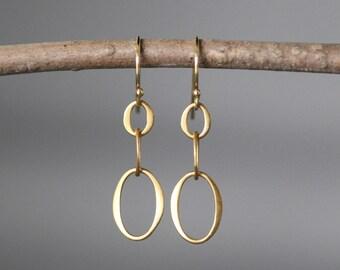 Gold Circle Earrings - Matte Gold Earrings - Everyday Earrings Gold - Gold Link Earrings - Simple Gold Earrings - Gold Vermeil Earrings