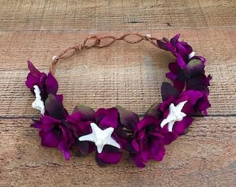 Starfish Head Wreath,Maternity Photo Prop,Beach Bridesmaid Hair Accessory,Beach Bridal Head Wreath,Purple Head Wreath,Beach Weddings
